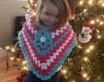 Poncho in toddler size. Handmade poncho. Crochet poncho.