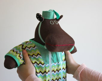Handmade plush doll with African inspired outfit and hat - Colorful hippo stuffed animal -Cuddly toy -Fabric doll outfit - Unique soft dolls