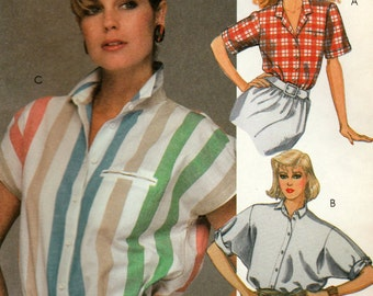 Misses Buttoned Blouse with Notched Collar, Pocket and Sleeve Variations, McCall's 9054, Size 8 and Size 10, Uncut Vintage Pattern