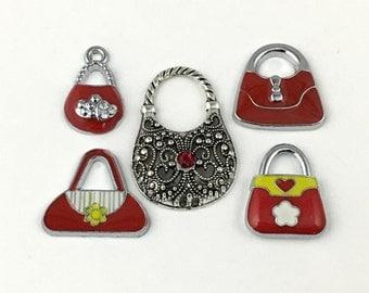 5 handbag silver tone and enamel charms, 33mm to 48mm# ENS A 523
