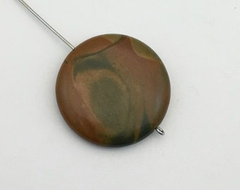 1 red creek jasper stone beads /30mm #PP 130