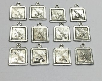 12 chalkboard charms antique silver, 17mm  # CH 036