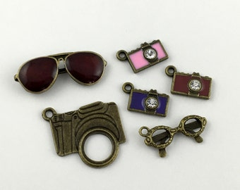 5 sunglasses and camera charms bronze tone,8mm x 21mm # CH 614