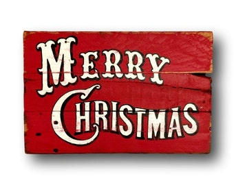 Vintage Merry Christmas Sign/ Christmas Decorations/ Rustic Christmas Sign