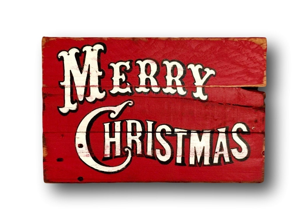 vintage merry christmas sign christmas decorations rustic. Black Bedroom Furniture Sets. Home Design Ideas