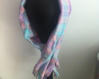 90s Pastel Blue Pink Purple Plaid Soft Wool Scarf
