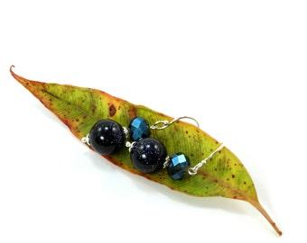 Blue Goldstone Earrings, Sterling Silver Earrings, Sparkly Earrings, Blue Goldstone, Blue Sparkly Earrings, Swarovski Earrings, Swarovski