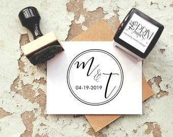 Initial Stamp, Wedding Favor Stamp,  Rustic Wedding Stamp, Wedding Stamp, Wedding Favors, Custom Stamp, Monogram Stamp, Date Stamp  CS 10234