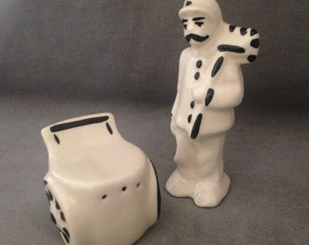 1940s Collectible Salt and Pepper Rare Street Sweeper with Dustbin, Can, Charming, Excellent Condition