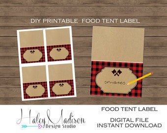 Lumberjack Printable Food Tent Labels, Lumberjack Place cards, plaid food labels DIGITAL FILE