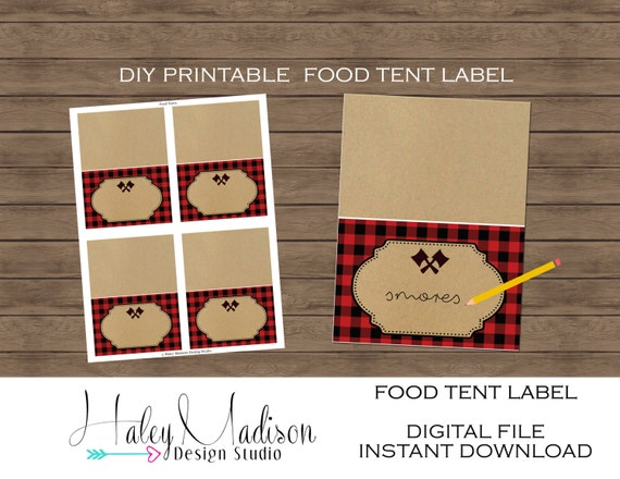 Lumberjack Printable Food Tent Labels Lumberjack Place Cards