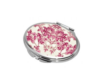 Oval Compact Mirror - Vintage Floral Elegance in Pink