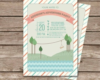 Adventure Birthday Party Invitation Printable | Zipline Party Invite | Zip Line Outdoor Glamping | Girl's Camping Explorer Digital File