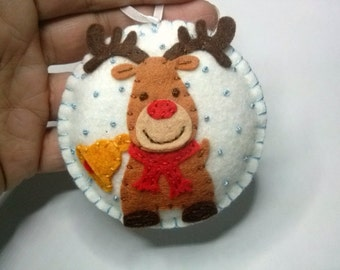 Christmas Reindeer ornament, Rudolph the red nosed reindeer, Felt christmas ornament, Felt Reindeer ornament, Tree decoration, decor