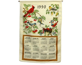 1990 Linen Tea Towel Calendar - Birds - Vintage Kitchen Towel