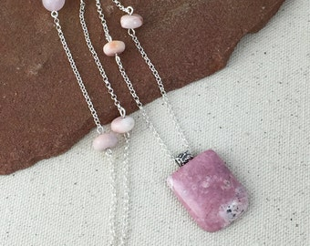 Pink Rhodonite Pendant Necklace on Strand of Fine Silver Rolo Chain with Pink Opal and Rose Quartz Beads