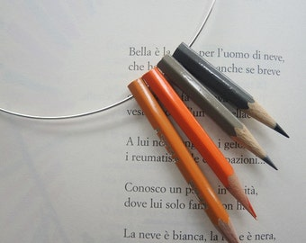 Orange grey pencils necklace