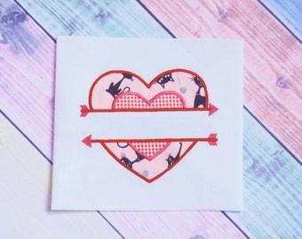 Heart Double Applique Machine Embroidery Design. instant download. Split Heart Applique Design. Heart and arrow applique.