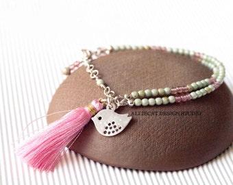 Bohemian Bracelet, Boho Bracelet, Green Picasso and Pink Birdie Tassel Bracelet