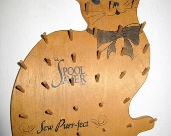 Spool Holder Sewing Thread Holder Wood Spool Holder Cat