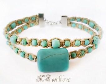 Macrame Bracelet, Turquoise Beaded Bracelet, Hem Cord Boho Bracelet, Handmade Turquoise Gemstone Bracelet, Mediterranean Bracelet