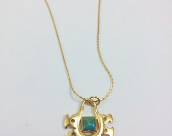 OOAK Tribal Gold plated Pendant witha square/ quadrate Turquoise stone