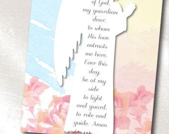 Print It Yourself Instant Download Digital - Prayer Print - Guardian Angel - Angel of God, my guardian dear - 8 x 10 Inch