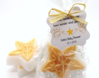 Gold Sparkle Star Soap, Baby Shower Favors with Custom Tags, Twinkle Twinkle Little Star Theme, Handmade Soap Favor, Baby Sprinkle, 12 Set