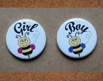"""Bumble bee gender reveal pins.  1.25"""" or 2.25 """"."""