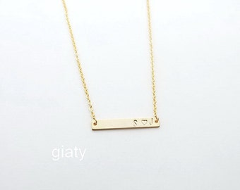 Hand Stamped Gold Bar Necklace, Personalized Gold Bar Necklace, Personalize Name Plate Necklace, Wedding Necklace, Bridesmaid Gift