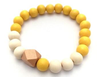Geometric Wooden Bead Bracelet ~ 8mm Yellow & White Wood Beads ~ 10mm Sand Brown Geometric Polygon Wood Bead ~ Stretch, custom sizing