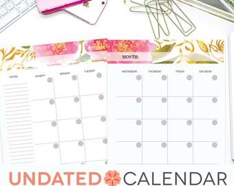 Undated Monthly Calendar, Printable Perpetual EDITABLE, Pink Floral Watercolor, Perennial Planner