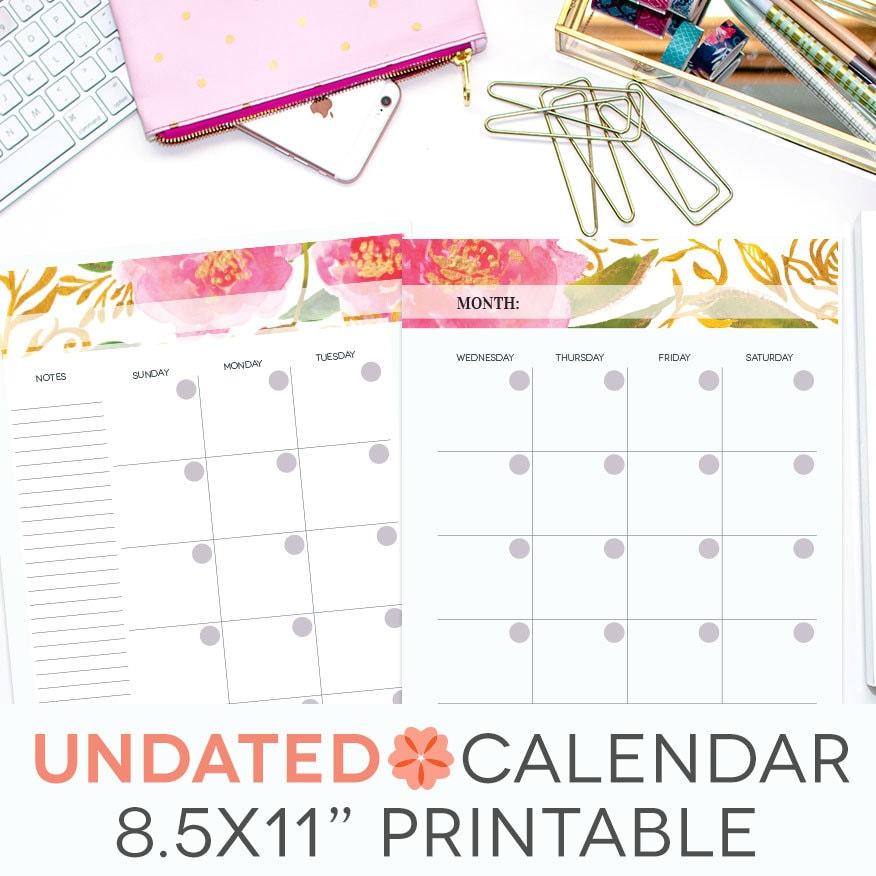 Weekly Calendar Undated : Undated monthly calendar printable perpetual editable pink
