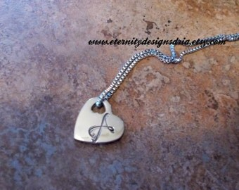Handstamped Personalized Initial Monogram Necklace/Heart necklace