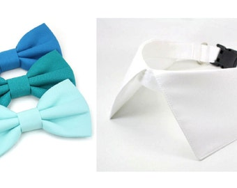 Dog Wedding Collar Teal Green Blue Seafoam Bow Tie Ring Bearer Formal Pointed Shirt Collar with D Ring for Leash