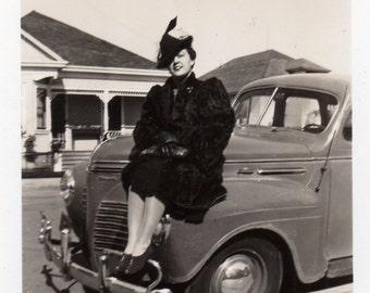 bumper gal ~ Vintage Snapshot Photo ~ lots of chrome!