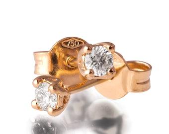 Diamond Earrings, 18K Rose Gold and Diamond Earrings, Post Earrings, Studs, Art Deco Earrings, Vintage Earrings, delicate Earrings, e002