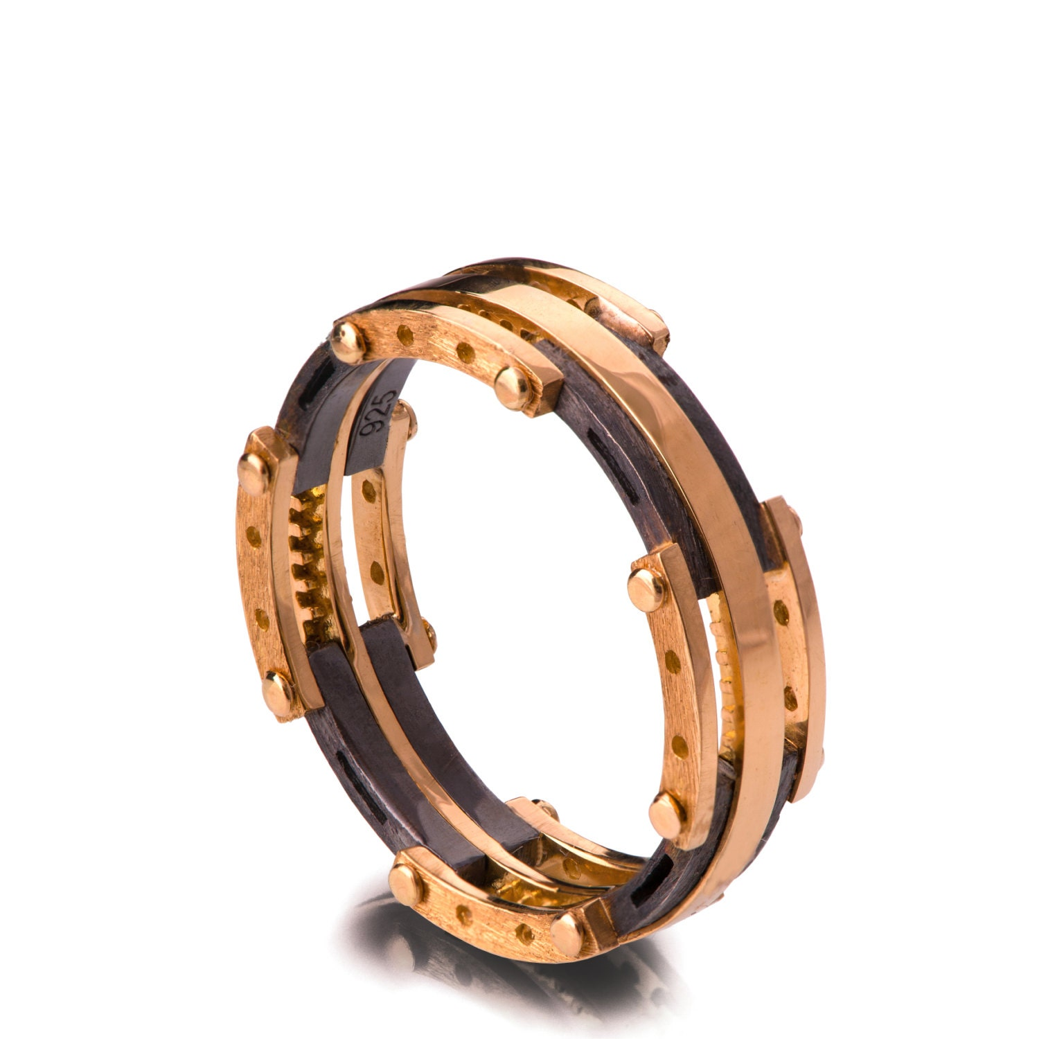 gold wedding band men s 18k rose gold and oxidized silver