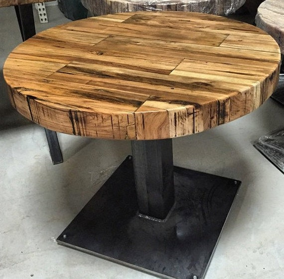 butcher block round table reclaimed wood pedestal by dendroco. Black Bedroom Furniture Sets. Home Design Ideas