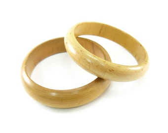 Vintage Light Wood Bangles, Set of Two