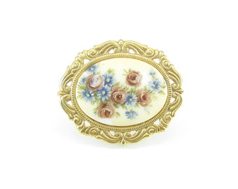 Vintage Flower Brooch, Glass Cabochon, Print, Gold Tone