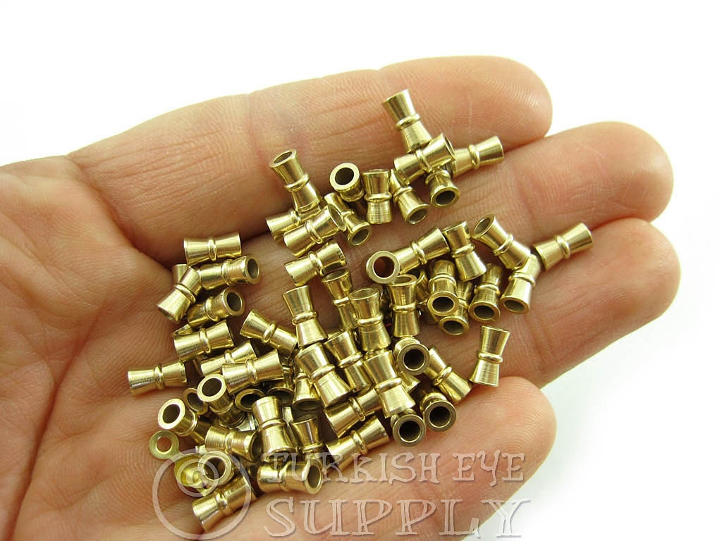 Raw brass industrial tube spacer beads