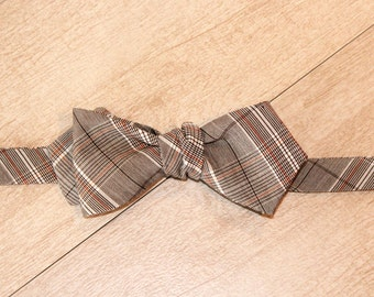The Gerald   Brown Plaid Self Tied Bow Tie