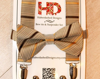 The Erkle   Men's Sage Bow Tie and Suspender Set with Gold and Brown Stripes