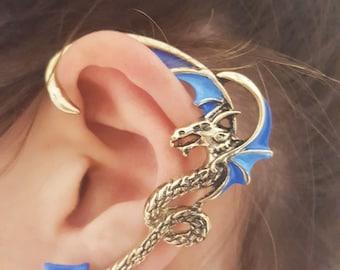Two shades of blue dragon ear cuff wrap