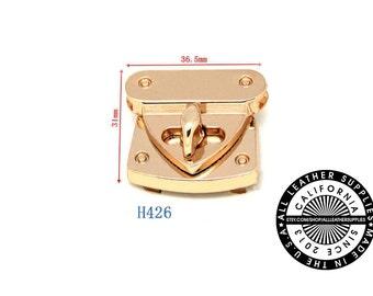 Gold Metal Square Turn Lock, 36 mm x 31 mm Turn Lock, Metal Lock, (H426)