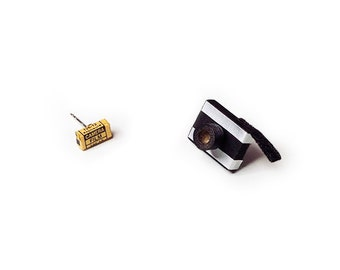 Miniature Camera and Film Sterling Studs - Photographer Gift - Camera Stud Earrings - Dollhouse Miniature Camera Earrings