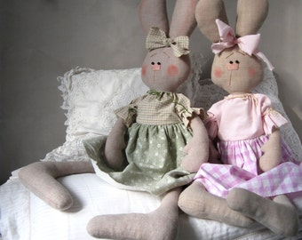 Primitive Bunny rabbit Stuffed bunny Soft toy rabbit Gifts for girls Girls toys Stuffed animal rabbit Easter gift for girl Easter decoration