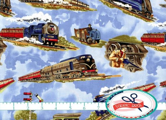 Retro train fabric by the yard fat quarter trains by for Train fabric by the yard