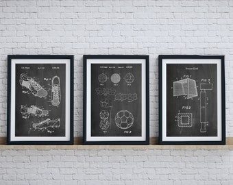 Soccer Patent Posters Group Of 3, Soccer Cleat, Soccer Goal, Soccer Ball,